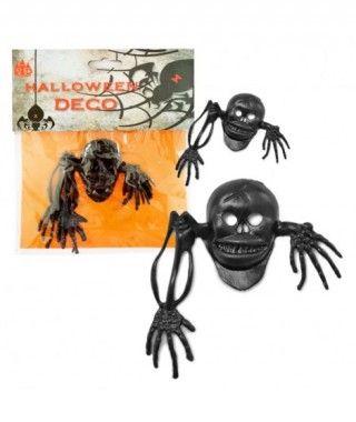 Calaveras Goma Negra Decoración Halloween (4 uds)