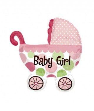 Globo Carrito Bebé Rosa Foil Babyshower