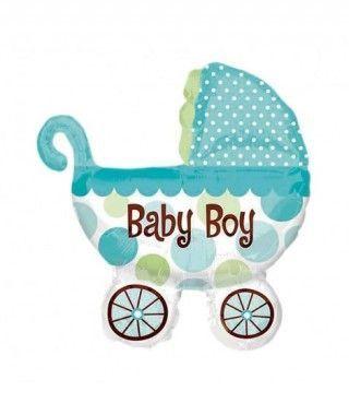 Globo Carrito Bebé Azul Foil Babyshower