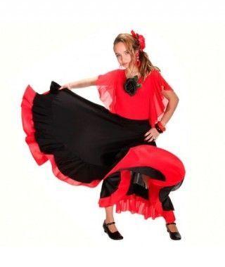 Falda Baile Flamenco Infantil Volante Rojo