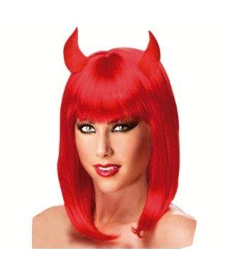 Peluca Diablesa con cuernos roja