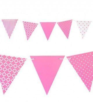 Banderín rosa 3.6m Decoración Fiestas