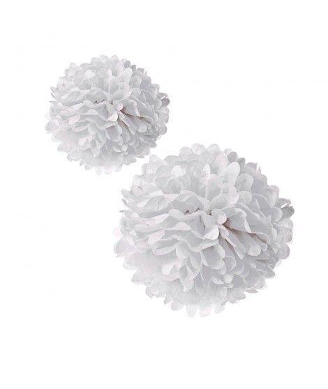 Pompones Papel Decorativos blancos (2 uds) Decoración Fiestas