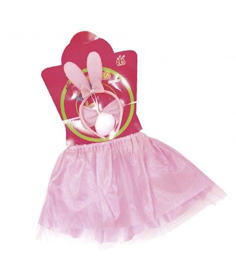 Conjunto de conejo rosa (4 piezas) Tutú + Diadema+ Cola + Pajarita Niña Infantil