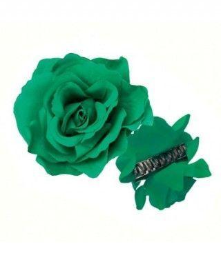 Rosa Flamenca Pinza Verde Oscuro