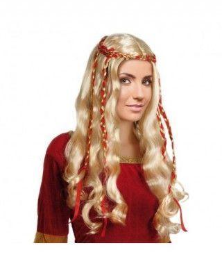 Peluca rubia de Dama Medieval Accesorio Carnaval
