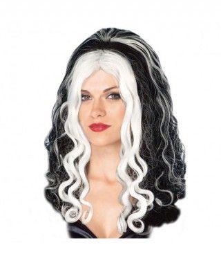 Peluca Morena Rizada con Mechas Blancas Accesorio Halloween