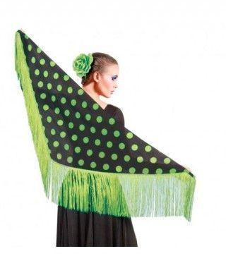 Mantón Lunares Verdes Accesorio Baile