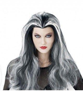 Peluca de Vampiresa mechas blancas Accesorio Halloween