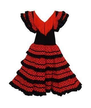 Vestido Sevillanas Infantil Rojo lunares negros