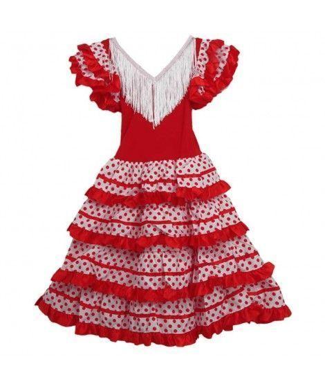 Vestido Sevillanas Infantil Blanco Lunares Rojos