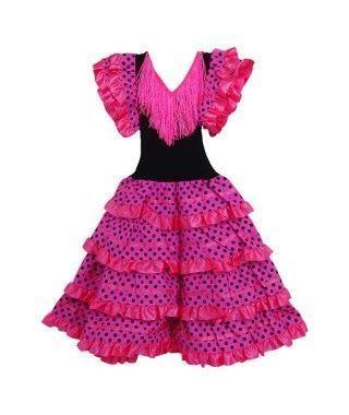 Vestido Sevillanas Infantil Fucsia lunares negros