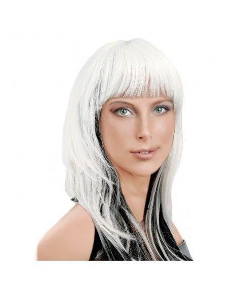 Peluca Blanca y negra Accesorio Halloween