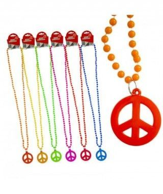 Collar Abalorios Hippy Paz Accesorio Fiesta (Pack 6 uds)