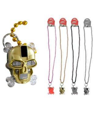 Collar Abalorios Luz Calavera Pirata (Pack 4 uds)