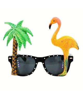 Gafas Tropicales Palmera Flamenco Accesorio Fiesta