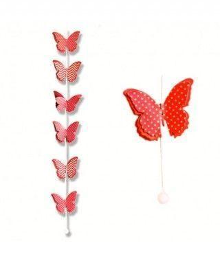 Colgante Mariposas Rojas Decoración Fiesta