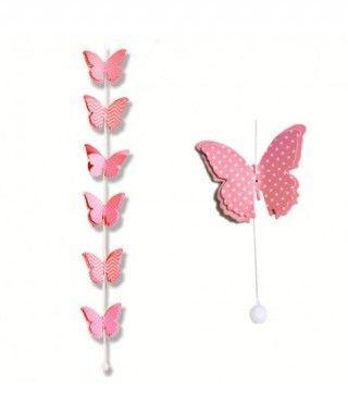 Colgante Mariposas Rosas Decoración Fiesta
