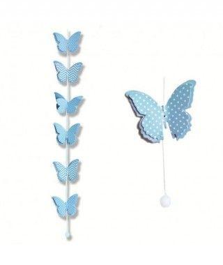 Colgante Mariposas Azules Decoración Fiesta
