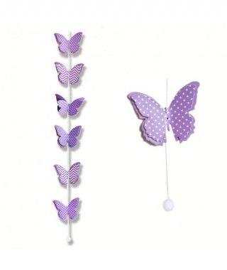 Colgante Mariposas Moradas Decoración Fiesta