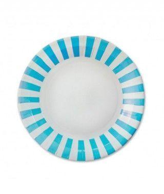 Plato Papel Rayas Azul (23 cm) Decoración Fiestas