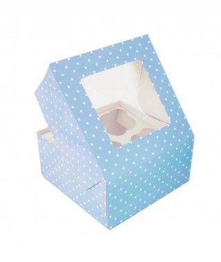 Caja Cupcake Azul lunares con ventanilla (2 cajas/8 cupcakes)