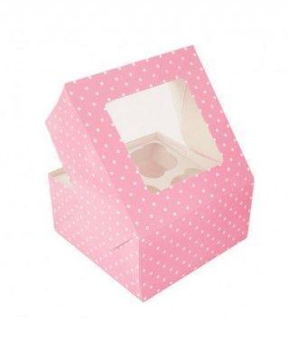 Caja Cupcake Rosa lunares con ventanilla (2 cajas/8 cupcakes)