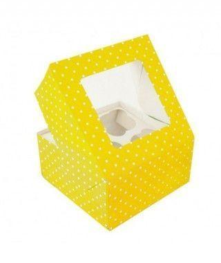 Caja Cupcake Amarilla lunares con ventanilla (2 cajas/8 cupcakes)