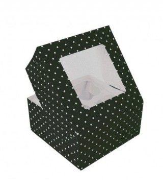 Caja Cupcake Negra lunares con ventanilla (2 cajas/8 cupcakes)