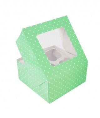 Caja Cupcake Verde lunares con ventanilla (2 cajas/8 cupcakes)