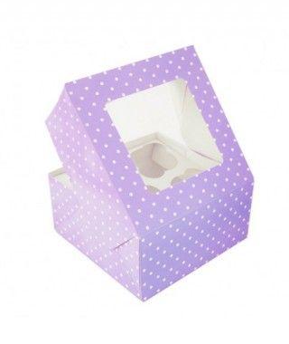 Caja Cupcake Morada lunares con ventanilla (2 cajas/8 cupcakes)