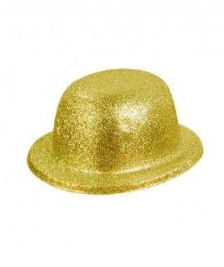 Bombín oro plástico purpurina