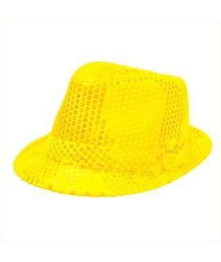 Sombrero lentejuelas amarillo con ala