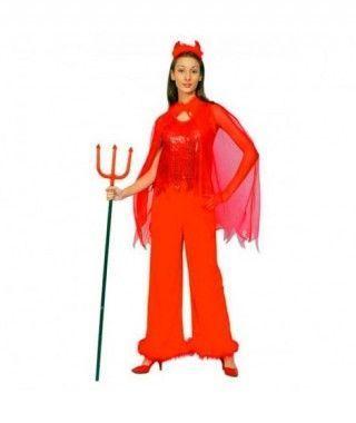 Disfraz Diablesa lentejuelas pantalón para mujer