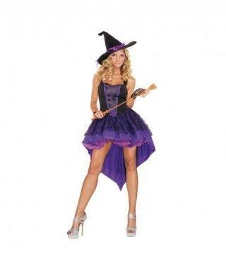 Disfraz Bruja Sassy Morada mujer adulto para Halloween