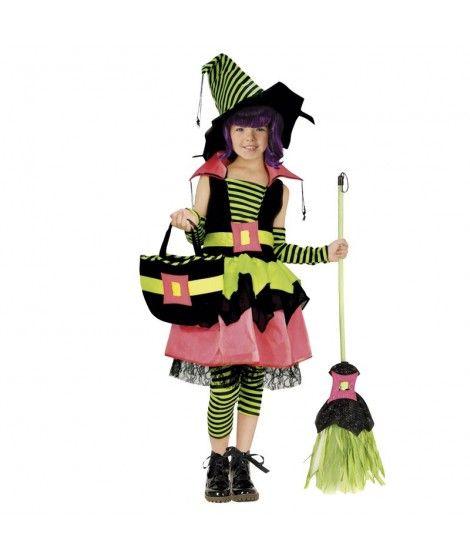 Disfraz Bruja Verde Cool de niña infantil para Halloween