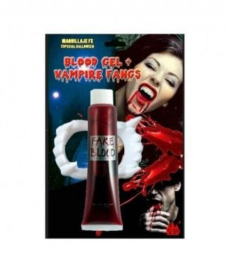 Set Sangre Artificial y Dentadura Vampiro