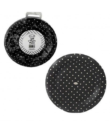 Plato de Papel desechable (12 unidades) Negro con lunares