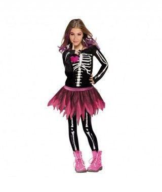 Disfraz Esqueleto Rosa Moderna para niña