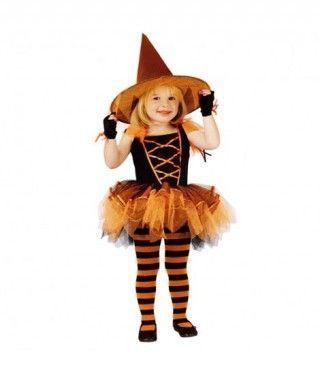 Disfraz Bruja Naranja Chic con Tutú para niña