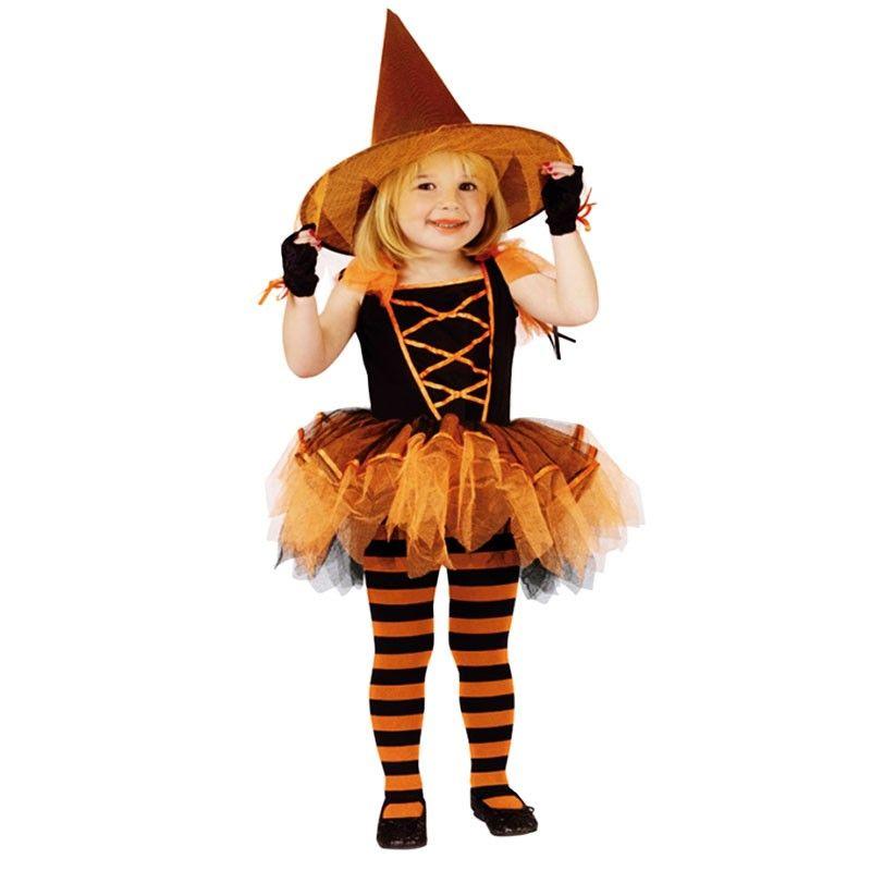 Disfraz Bruja Naranja Chic Con Tutu Para Nina - Disfraz-de-bruja-para-bebe