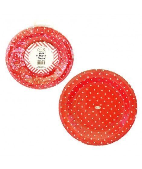 Plato de Papel desechable 17 cm (12 unidades) Rojo con lunares