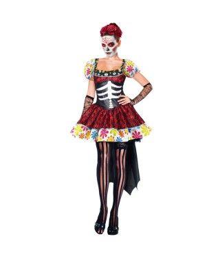 Disfraz de Esqueleto Mejicana Catrina Día de los Muertos mujer adulto para Halloween