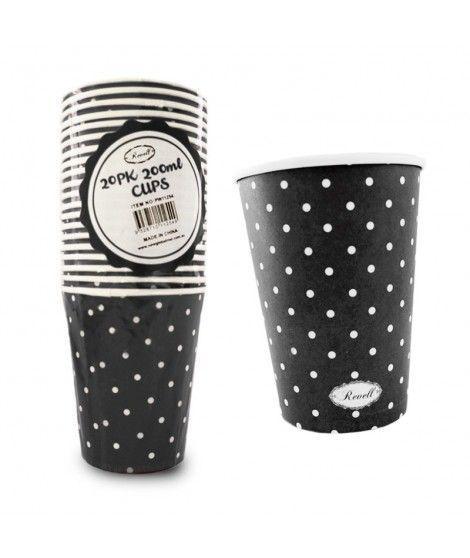 Vaso de Papel 200 ml (20 unidades) Negro con Lunares
