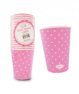 Vaso de Papel 200 ml (20 unidades) Rosa con Lunares
