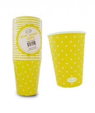 Vaso de Papel 200 ml (20 unidades) Amarillo con Lunares