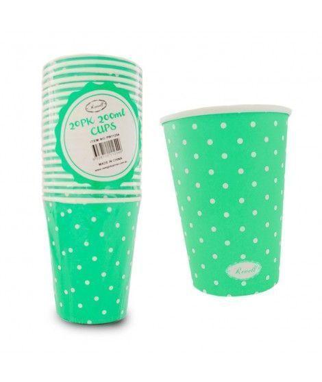 Vaso de Papel 200 ml (20 unidades) Verde con Lunares