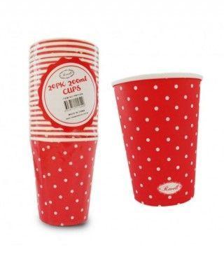 Vaso de Papel 200 ml (20 unidades) Rojo con Lunares