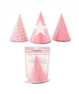 Gorros de papel rosa