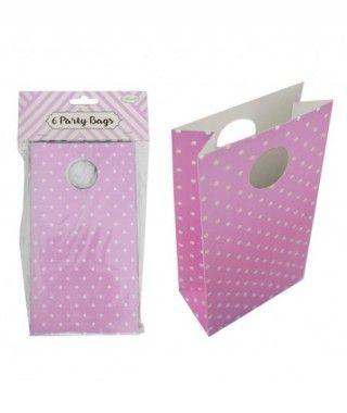 Bolsa de Papel para Fiesta, Cumpleaños, Regalos (6 unidades) Rosa con Lunares